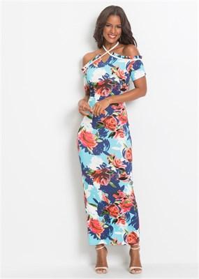 FLORAL HALTER MAXI DRESS - фото 4768