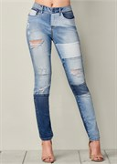 DISTRESSED PATCHWORK JEANS - фото 4799