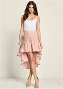 LACE DETAIL HIGH LOW SKIRT - фото 4829